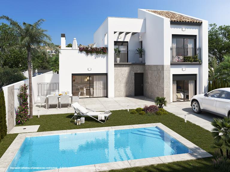 Schitterende warme stijl nieuwe 3 slaapkamer villa in Nieuwbouw Costa Blanca